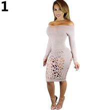 Women Sexy Off Shoulder Bodycon Long Sleeve Cocktail Party Hollow Dress