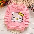 Sudor niñas sudadera gato gatito embroma sudaderas con capucha de algodón niños camiseta de los niños ropa de otoño e invierno de los niños outwear tops para 1-4