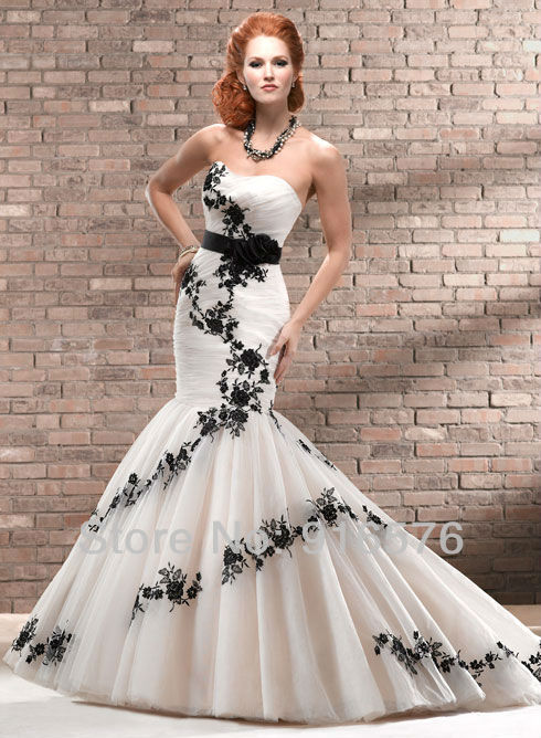 Enchanting black and white mermaid wedding dresses sweetheart low enchanting black and white mermaid wedding dresses sweetheart low back lace sash corset chapel train flower dress bridal gown in wedding dresses from mightylinksfo