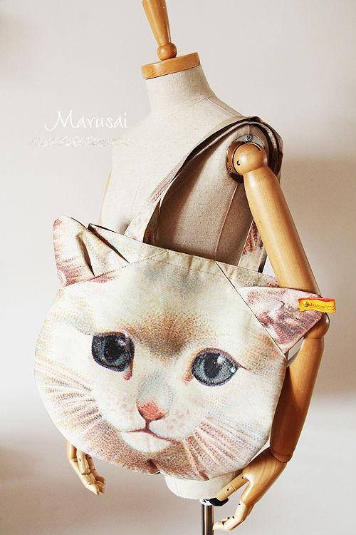 Leving Cat head canvas shopping bag shoulder bag handbag bag