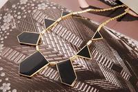 мин ожерелье. заказ $ 10 урожай черный золото геометрический Cole с мода бесплатная доставка 1210001x