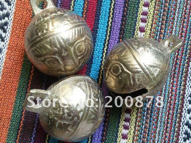 NBB409 большие Латунные Колокольчики 10#, диаметр 41 мм, 10 шт./партия, ветровые колокольчики с головой тигра, колокольчики для собак, колокольчики для счастливых, золотистые металлические бусины
