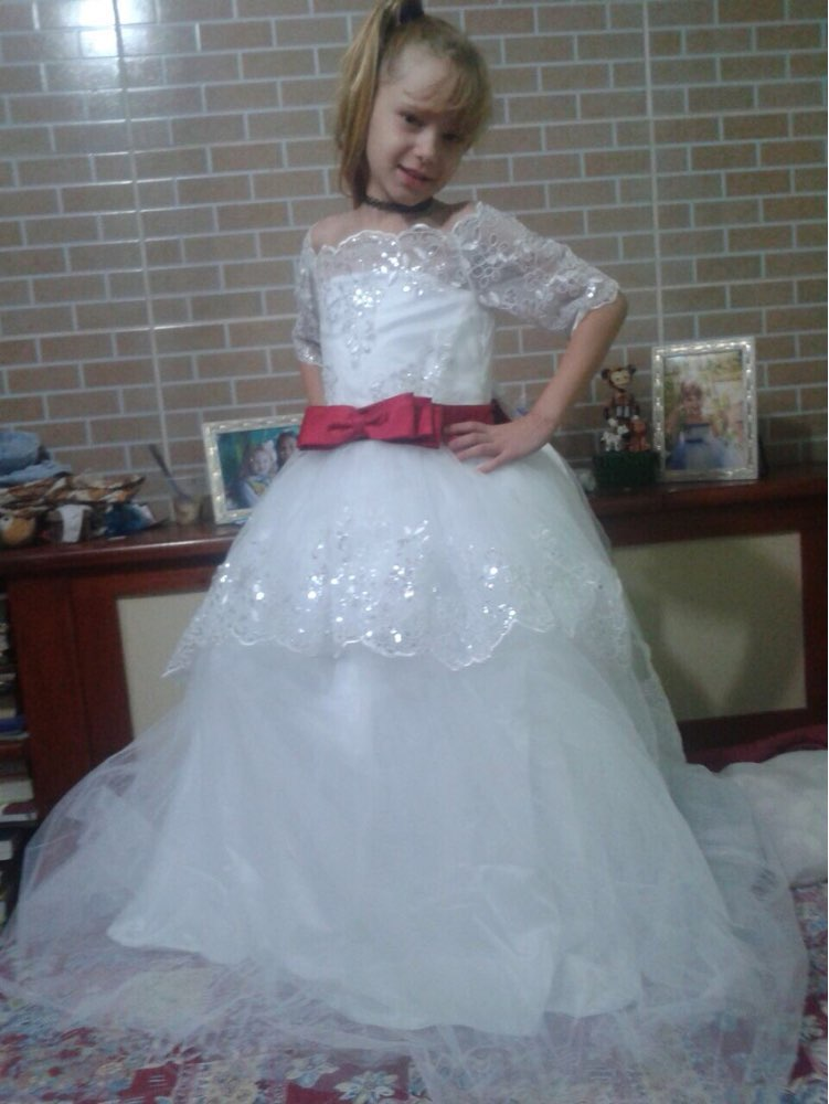 White Kids Evening Lace Half Sleeves With Belt Ball Gown Flower Girl Dress  2020 First Communion Dresses For Girls kids evening communion dressesfirst  communion dresses - AliExpress