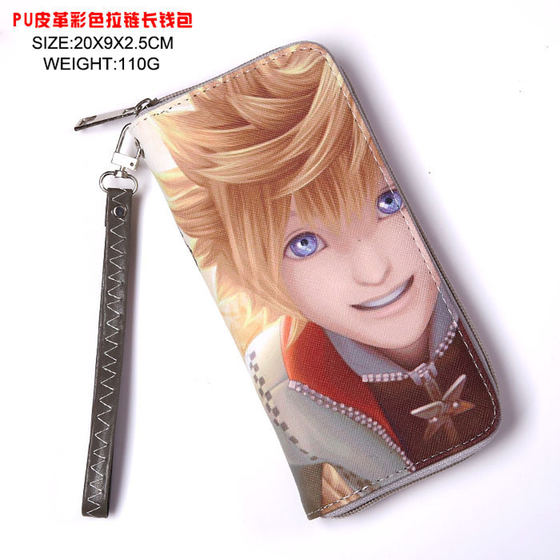 Anime Kingdom Hearts Sora Cool PU Wallet Long Style Purse with Zipper