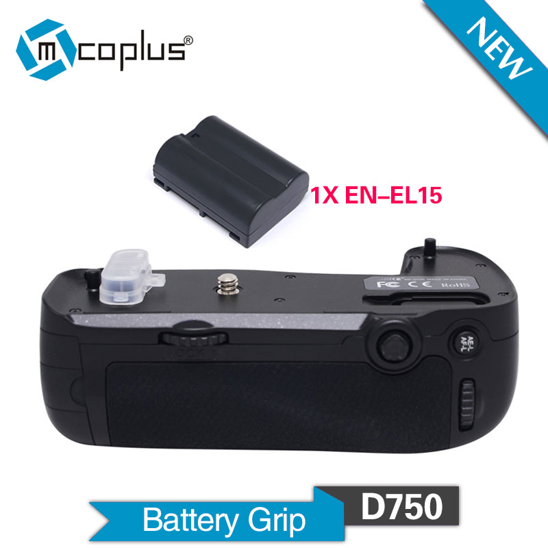 Mcoplus BG-D750 Vertical Battery Grip with 1pcs EN-EL15 for Nikon D750 DSLR Camera as MB-D16 Meike MK-D750 meike vertical battery grip for nikon d7200 d7100 rechargeable li ion batteries as en el15 017209