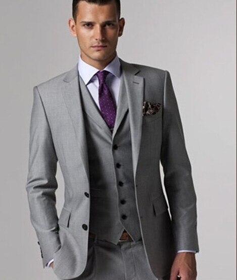 Elegante Licht Grau Männer Anzug Herren Hochzeit Smoking Für Bräutigam Besten Männer Party Smoking Anzüge 2017 Anzüge & Blazer jacke + Hosen + Weste + Krawatte