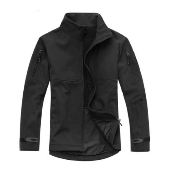 Outdoor Breathable Softshell Jacket Men's Black Tactical Hunting Waterproof Windproof Jacket Soft shell with Fleece Lining outdoor female hiking soft shell jacket suits with soft shell fleece pant sport waterproof breathable warm fleece rain jacket