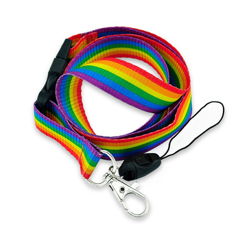 Rainbow Stripes Lanyard Neck Strap Rope Mobile Cell Phone ID Card Badge Holder With Keychain Keyring Anti-lost 12pcs Designer