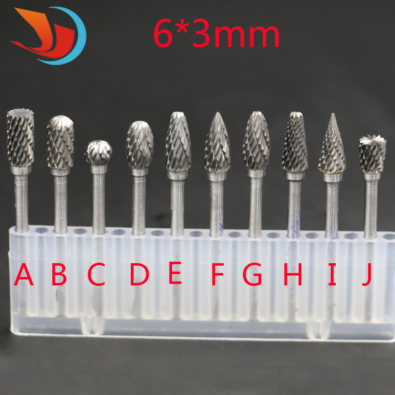 Hot Sale 10pc 1/8 Shank Tungsten Carbide Milling Cutter Rotary Tool Double Diamond Cut Rotary Tools Electric Grinding