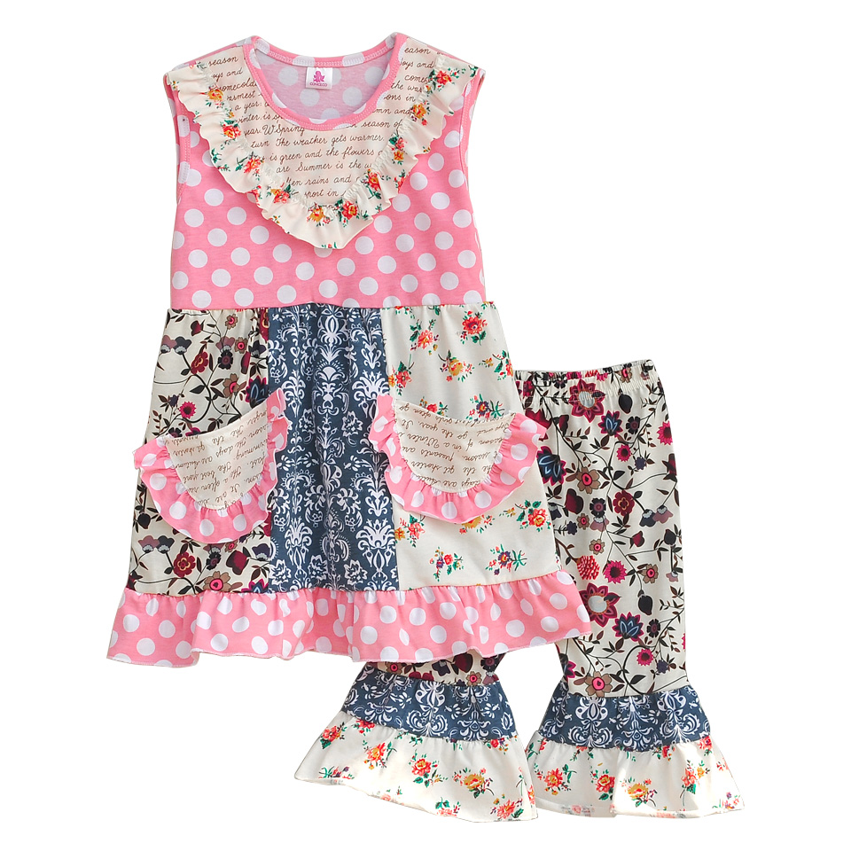 Persnickety Remake Baby Girls 2 Pcs Sets Bib Polka Dot Top Floral Shorts Cotton Hot Sale