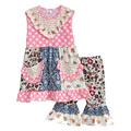 Persnickety Remake Baby Girls 2 Pcs Sets Bib Polka Dot Top Floral Shorts Cotton Hot Sale Kids Spring Summer Clothing S088