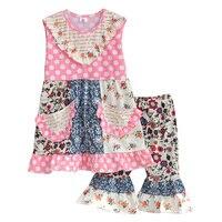 Persnickety Remake Baby Girls 2 Pcs Sets Bib Polka Dot Top Floral Shorts Cotton Hot Sale