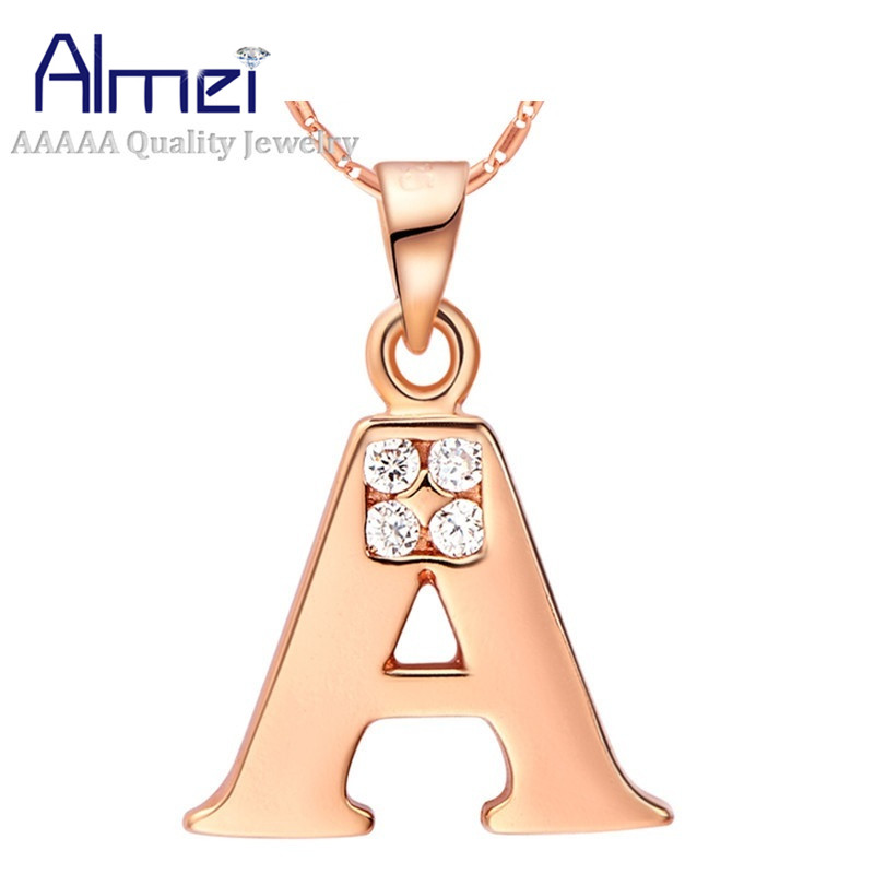 Letter Collares for Women Rose Gold Color Pendants Statement Necklace A B C D E F G H I  ...