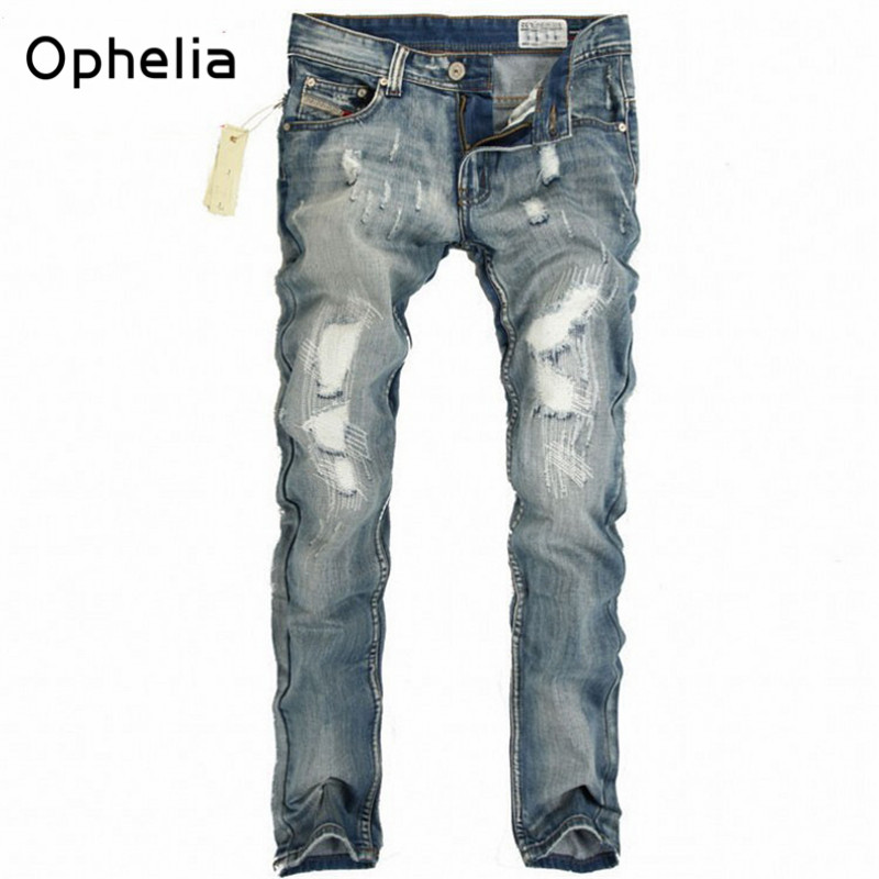Men Jeans Slim Straight Jeans Male Hole Jeans Pants Casual Denim Trousers High Quality destroyed ripped