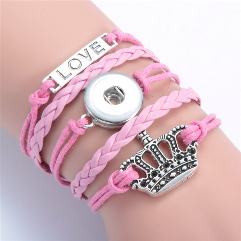 Fashion Love Crown Leather Metal Ginger 18mm Snap Button Interchangeable Jewelry Snaps Mulitlayer Bracelet
