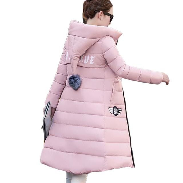 Algodão-acolchoado Jacket 2016 Mais Novo Inverno das mulheres Engrossar Parka Longo Fino de Alta Qualidade Plus Size Casaco com Capuz Feminino LH362