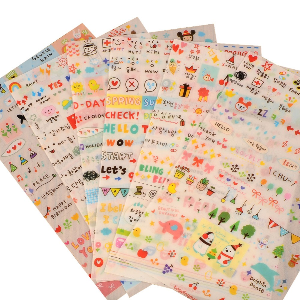 6 Sheet Paper Stickers for Diary Scrapbook Book Wall Decor for decoration*Cartoon stickersClassic Toys