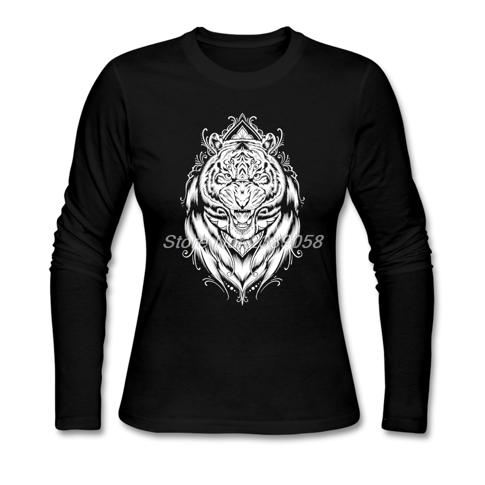 Latest Brand Tiger Eyes Womens T-shirt High Quality Cheap Price Tees Long Sleeve Round Collar Womens t shirt