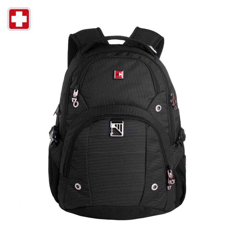 Swisswin Black Business Backpack Male Swiss Military 15.6 Computer Bag For Boys Mochila masculino Orthopedic Backpack sac a dos swisswin black business backpack sw9218 male swiss 15 6 computer swissgear wenger bag 23l mochila
