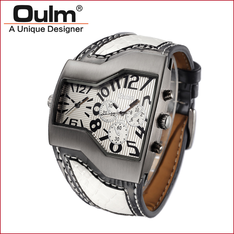 OULM Brand men watch dual time zone sport style quartz cool watches for teenagers with leatheroid belt