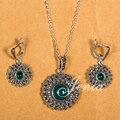 Jenia Retro Thai Marcasite prata jóias Set rodada verde pedra pingente e brincos define XS118