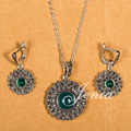 Jenia Retro Thai Silver Marcasite Jewelry Set Green Round Stone Pendant and Earrings Sets XS118