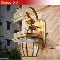 ZX European Retro Copper E27 AC LED Wall Lamp Outdoor Indoor Balcony Garden Yard Living Room Bedroom Lamp