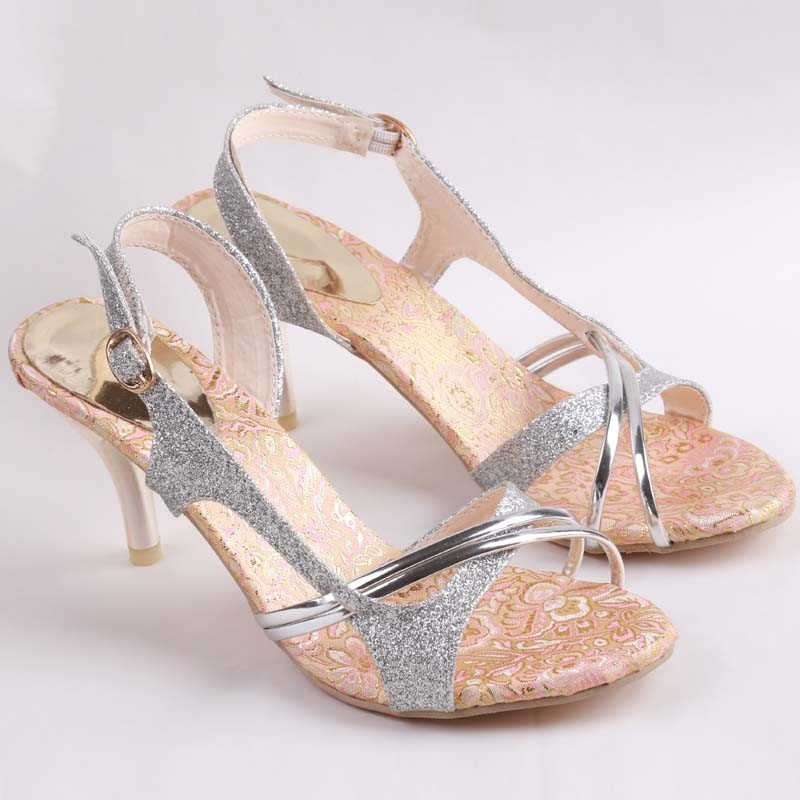 Aliexpress.com   Buy SHIDIWEIKE Women Sandal Thin High Heels Sandals Gold  Ladies Summer Shoes Gladiator Heels open toe Hollow Out Bling Glitter PU  from ... 3cb6b9751da9