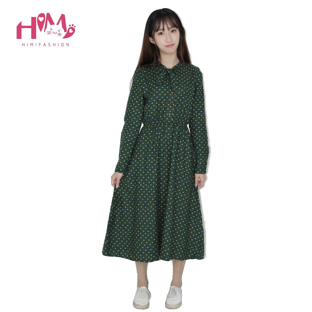 509d7172c6 ... Cute Green Floral Dress Vintage Ladies Dresses Bohemian Style Autumn  Winter Long Sleeves All Match New ...