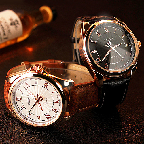 Men Fashion Business Rose Gold Case Big Round Dial Casual Quartz Wrist Watch