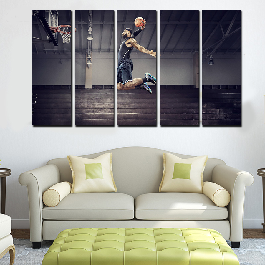 Painting For Living Room Wall 5 Panels For Michael Jordan Artwork Canvas Painting Wall Art