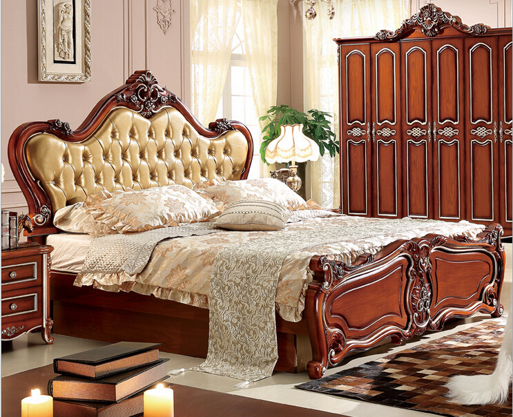 Wood hand carved french style bed in beds from furniture on