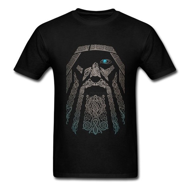 Custom Odin Vikings T Shirt Vintage Men Short Sleeve O-neck Cotton Tees Shirt Unique Father's Day Gifts