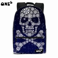 2016 ONE2 шаблон дизайна череп специально отпечатанные рюкзак полиэстер и нейлоновый рюкзак мешок водонепроницаемый рюкзак и женщины сумку для ноутбука