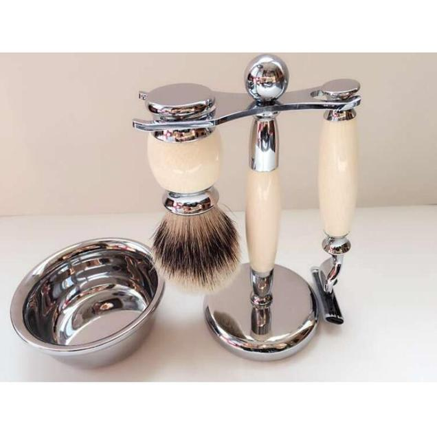 Beard Brush Set Men's Shaving Set -- De Razor, Badger Brush, Chrome Bowl, GBS Soap And Stand.FH-10148