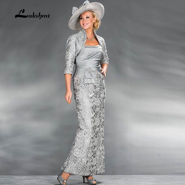 2016 Encajes Madre de la Novia con la Chaqueta Vaina Vestidos Formales Largos de Plata Satinado Vestido de Noche Del Partido Envío Gratis