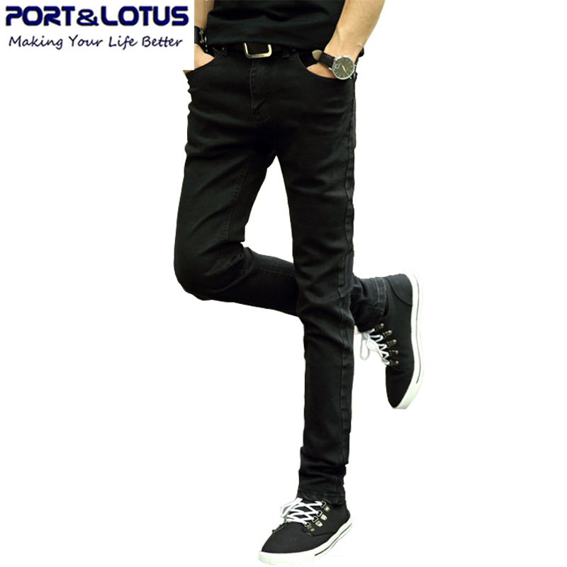 Port Lotus Fashion Casual Jeans New Arrival With Zipper Fly Solid Color Pencil Pants Slim Fit