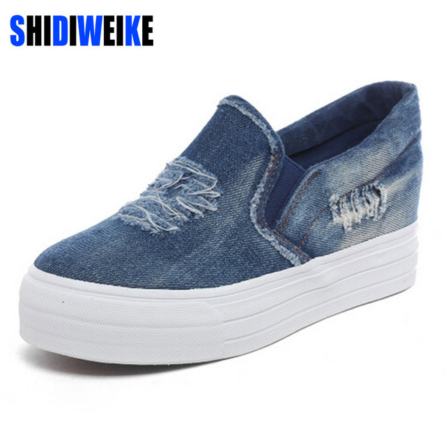 SHIDIWE Denim Canvas Shoes Woman Platform Loafers Slip On Creepers Casual  Shoes Woman Vintage Flats Comfortable