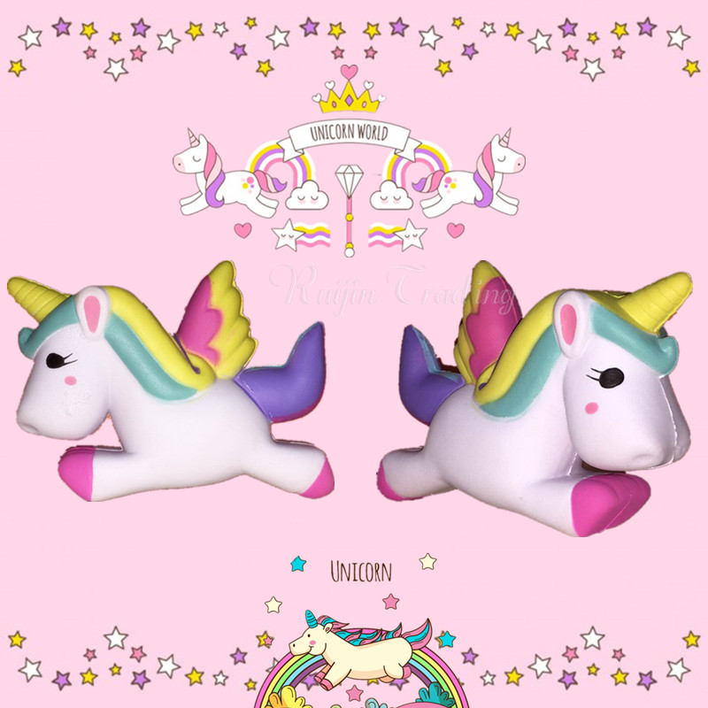2017 New Slow Rising Squishy Unicorn Kawaii Cute Phone Straps Pendant Retail Packaging Bread Cake Cream Scented Kids Toy Gift