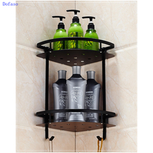 Dofaso bathroom vintage black towel racks wall mount oil rubbed bronze black shower rack oil rubbed bronze bathrrom dual towel bar towel hanger soild brass wall mount