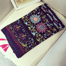 Этническая цветочный узор Для женщин шарф древних w/Ленточки хлопок шали яркий Цвет пашмины Горячий
