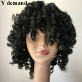 Cheap Afro Kinky Curly BOB Brown Black Full wigs Synthetci Hair African American Short 3 colors wig For Black Women