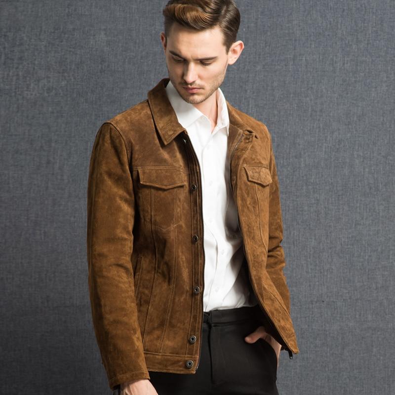 2016 Männer Echt Leder Jacke Schweinsleder Echtem Leder Jacke Männer Schwein Leder Denim Jacke Mantel Seien Sie Im Design Neu