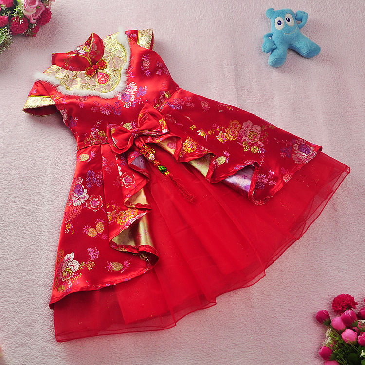 Free shipping New  Red Hot Chinese Style costume baby Kid Child Girl Cheongsam Dress Qipao Ball Gown Princess girl veil Dress dress coat traditional chinese style qipao full sleeve cheongsam costume party dress quilted princess dress cotton kids clothing