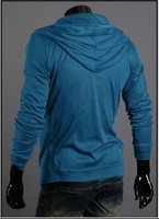 бесплатная доставка свободного покроя мужчины тонкий с капюшоном с длинными рукавами футболка красочные с длинными рукавами кардиган
