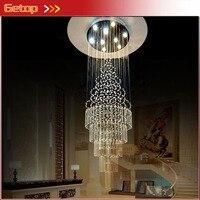 ZX K9 Crystal Spiral Shaped Long Chandelier GU10 LED Light Lamp Multilegs Staircase Lobby Livingroom Corridor