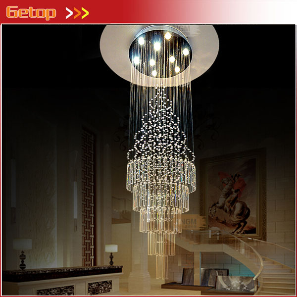 ZX K9 Crystal Spiral Long Hall Chandelier GU10 LED Light Pendant Lamp Staircase Lobby Living Room Corridor Lamp Hot Sale