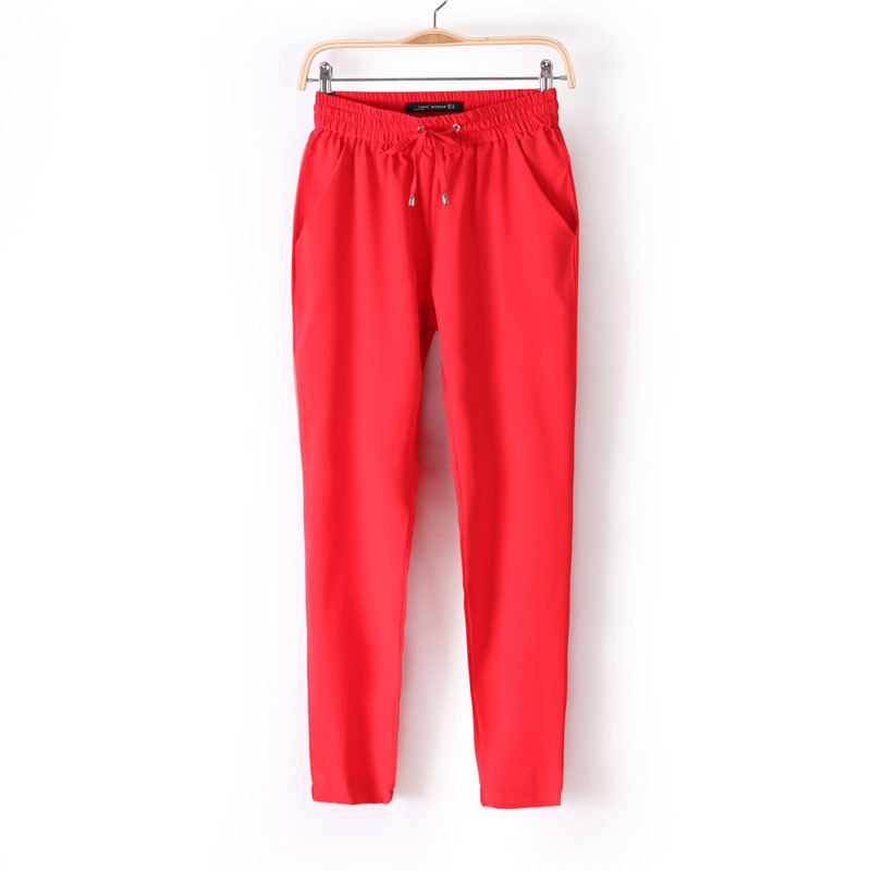 Chiffon Elastic Waist Solid Color Office Pants 12