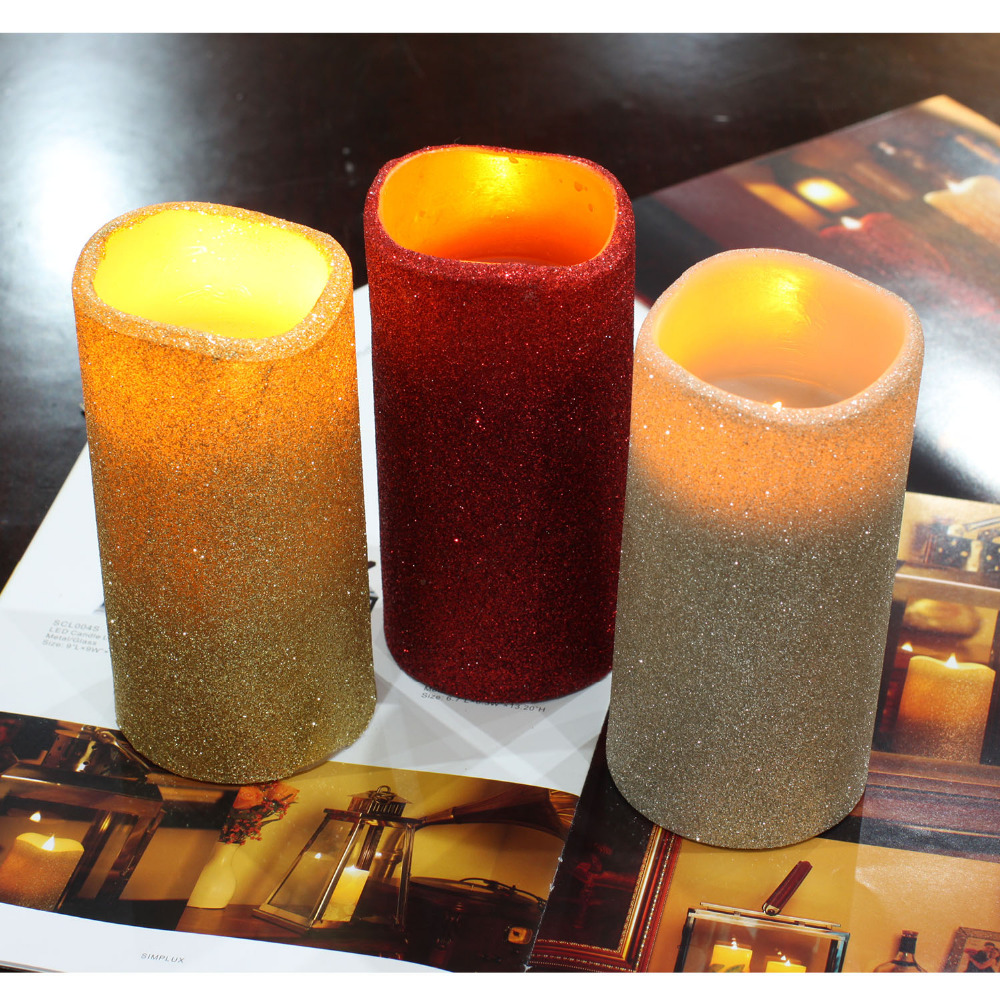 DFL Flameless Real Wax Led Pillar Candles with Timer with Glitter Powder,for Home Party Wedding Christmas Decoration,3×6 inches