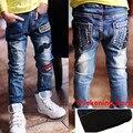 Новый Год, осень Зима новый детский Бархатные джинсы мальчиков дикие детские kids fashion джинсы детские джинсы для 3-12Y